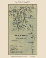 New Milford Village, Connecticut 1859 Litchfield Co. - Old Map Custom Print