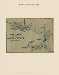 North Canaan Village, Connecticut 1859 Litchfield Co. - Old Map Custom Print