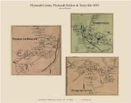 Plymouth Hollow, Terryville and Plymouth Centre Villages, Connecticut 1859 Litchfield Co. - Old Map Custom Print