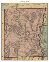 Salisbury, Connecticut 1859 Litchfield Co. - Old Map Custom Print