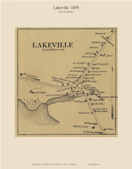 Lakeville Village, Connecticut 1859 Litchfield Co. - Old Map Custom Print