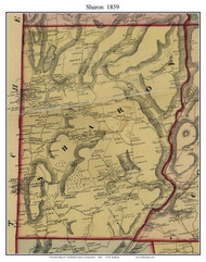 Sharon, Connecticut 1859 Litchfield Co. - Old Map Custom Print