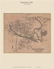 Wolcottville Village, Connecticut 1859 Litchfield Co. - Old Map Custom Print