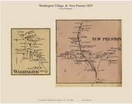 Washington and New Preston Villages, Connecticut 1859 Litchfield Co. - Old Map Custom Print