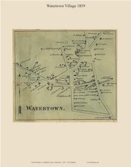 Watertown Village, Connecticut 1859 Litchfield Co. - Old Map Custom Print