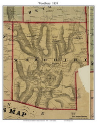 Woodbury, Connecticut 1859 Litchfield Co. - Old Map Custom Print