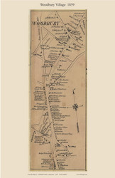 Woodbury Village, Connecticut 1859 Litchfield Co. - Old Map Custom Print
