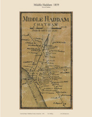 Middle Haddam Village, Connecticut 1859 Middlesex Co. - Old Map Custom Print