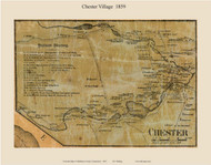 Chester Village, Connecticut 1859 Middlesex Co. - Old Map Custom Print