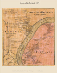 Cromwell and Portland Villages, Connecticut 1859 Middlesex Co. - Old Map Custom Print
