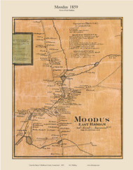 Moodus Village, Connecticut 1859 Middlesex Co. - Old Map Custom Print