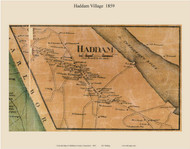 Haddam Village, Connecticut 1859 Middlesex Co. - Old Map Custom Print
