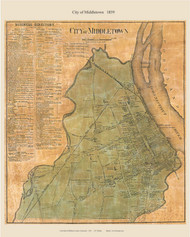 Middletown City, Connecticut 1859 Middlesex Co. - Old Map Custom Print