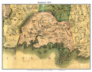 Branford, Connecticut 1852 New Haven Co. - Old Map Custom Print