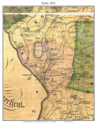 Derby, Connecticut 1852 New Haven Co. - Old Map Custom Print