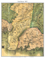 East Haven, Connecticut 1852 New Haven Co. - Old Map Custom Print