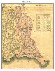 Madison, Connecticut 1852 New Haven Co. - Old Map Custom Print