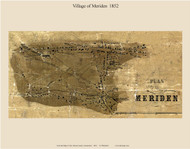 Meriden Village, Connecticut 1852 New Haven Co. - Old Map Custom Print