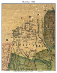 Middlebury, Connecticut 1852 New Haven Co. - Old Map Custom Print