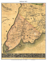 Milford, Connecticut 1852 New Haven Co. - Old Map Custom Print