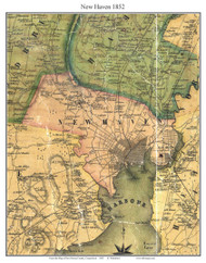 New Haven, Connecticut 1852 New Haven Co. - Old Map Custom Print