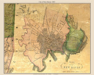 New Haven City, Connecticut 1852 New Haven Co. - Old Map Custom Print
