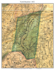North Branford, Connecticut 1852 New Haven Co. - Old Map Custom Print