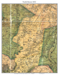 North Haven, Connecticut 1852 New Haven Co. - Old Map Custom Print