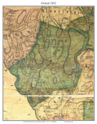 Oxford, Connecticut 1852 New Haven Co. - Old Map Custom Print