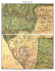 Seymour, Connecticut 1852 New Haven Co. - Old Map Custom Print