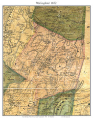Wallingford, Connecticut 1852 New Haven Co. - Old Map Custom Print