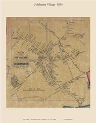 Colchester Village, Connecticut 1854 New London Co. - Old Map Custom Print