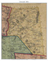 Griswold, Connecticut 1854 New London Co. - Old Map Custom Print