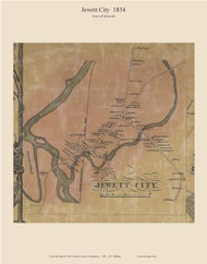 Jewett City, Connecticut 1854 New London Co. - Old Map Custom Print