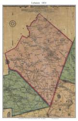 Lebanon, Connecticut 1854 New London Co. - Old Map Custom Print