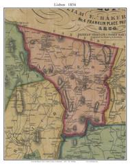 Lisbon, Connecticut 1854 New London Co. - Old Map Custom Print