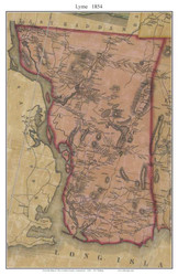 Lyme, Connecticut 1854 New London Co. - Old Map Custom Print