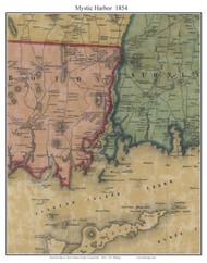 Mystic Harbor, Connecticut 1854 New London Co. - Old Map Custom Print
