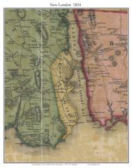 New London, Connecticut 1854 New London Co. - Old Map Custom Print