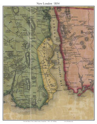 New London, Connecticut 1854 New London Co. - Old Map Custom Print