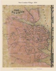 New London Village, Connecticut 1854 New London Co. - Old Map Custom Print