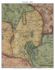 Norwich, Connecticut 1854 New London Co. - Old Map Custom Print