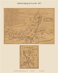 Stafford Springs & Foxville, Connecticut 1857 Tolland Co. - Old Map Custom Print