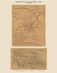 Staffordville & Furnace Hollow, Connecticut 1857 Tolland Co. - Old Map Custom Print