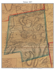 Vernon, Connecticut 1857 Tolland Co. - Old Map Custom Print