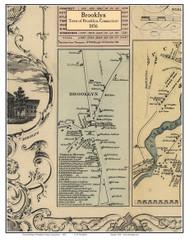 Brooklyn Village, Connecticut 1856 Windham Co. - Old Map Custom Print