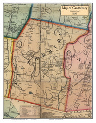 Canterbury, Connecticut 1856 Windham Co. - Old Map Custom Print