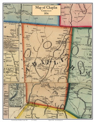 Chaplin, Connecticut 1856 Windham Co. - Old Map Custom Print