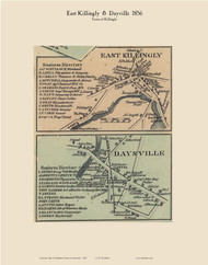 East Killingly & Dayville, Connecticut 1856 Windham Co. - Old Map Custom Print