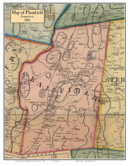 Plainfield, Connecticut 1856 Windham Co. - Old Map Custom Print